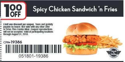 Take $1.00 off Spicy Chicken Sandwich 'n Fries.